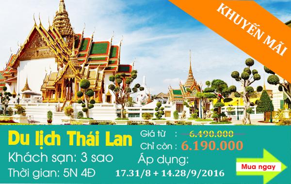 Giảm giá 300k cho tour du lịch Thái Lan 5 ngày 4 đêm siêu VIP