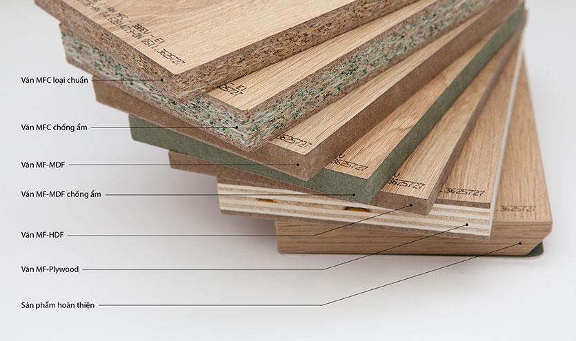 Một số loại gỗ công nghiệp để làm tủ bếp