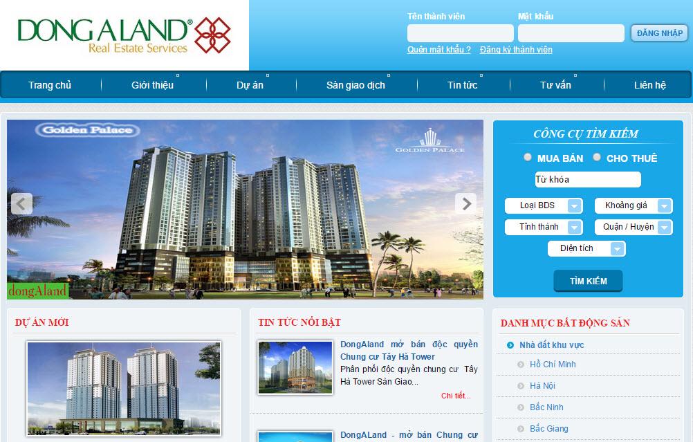 Giới thiệu chung trang web bất động sản