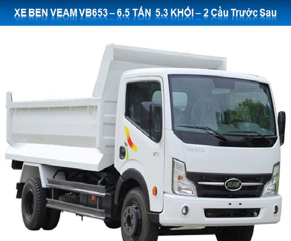 Xe Ben Veam VB653 trọng tải 6, 5 tấn