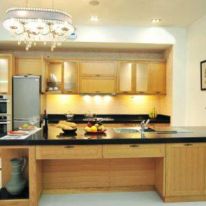 Nội thất gỗ cho phòng bếp tươi tắn hiện đại