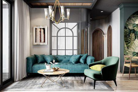 Ngôi nhà có nội thất màu xanh dành cho người thích bình yên