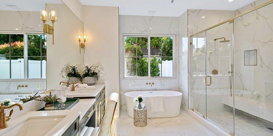 Trang trí phòng tắm màu trắng như spa sang chảnh tại nhà