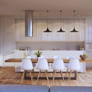 Những mẫu thiết kế phòng ăn nhà phố kết hợp cùng gỗ tự nhiên