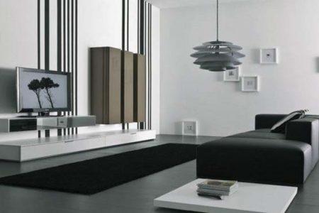 Phòng khách hiện đại cá tính với tông đen – trắng